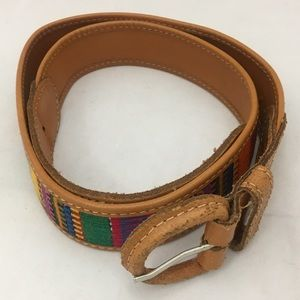 Brown Leather Belt Colorful Embroidery